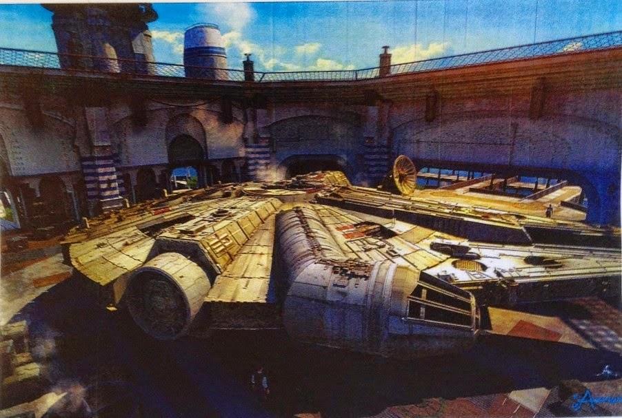 Il Millennium Falcon nella base di Yavin.