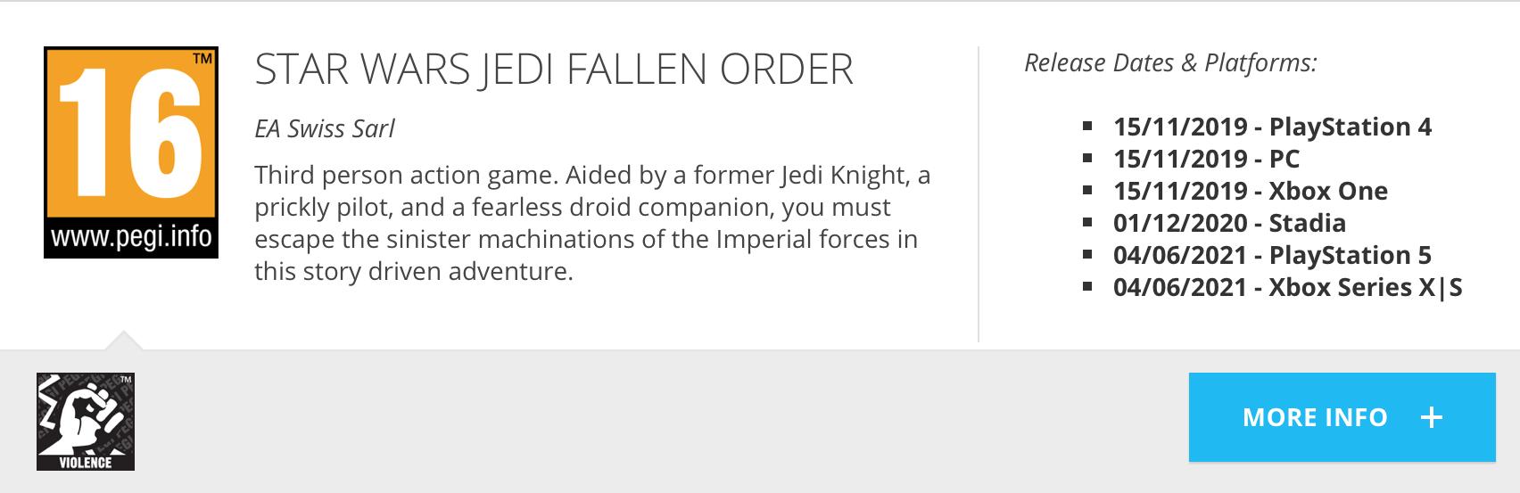 Star Wars Jedi: Fallen Order PEGI